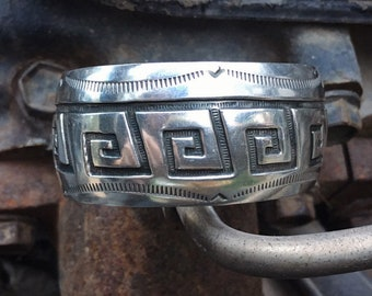 Vintage Sterling Silver Overlay Cuff Bracelet for Women or Men, Contemporary Native American Indian Hopi Jewelry