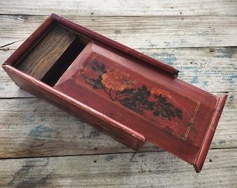 Vintage Slide Top Wood Box with Painted Lid Sides, Chinoiserie Decor Asian, Art Supply Box