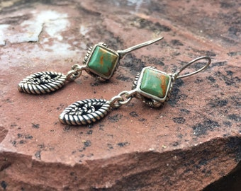 Vintage 925 Silver and Turquoise Dangle Earrings from Thailand, Bohemian Jewelry for Women