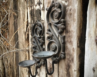 Pair of Heavy Cast Iron Spanish Revival Wall Mounted Candle Holder Rustic Sconces, Southwest Decor