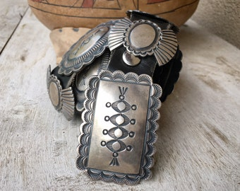 1970s 309g Stamped Sterling Silver Concho Belt by Navajo Martha Cayatineto, Native American Indian