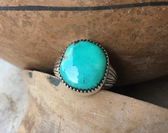 Simple Round Turquoise Ring for Women or Men Size 11, Native American Indian Jewelry for Him