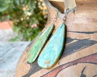 Vintage Slab Turquoise Earrings, Southwestern Earrings, Turquoise Jewelry