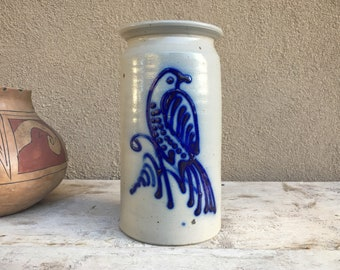 Salt Glaze Cobalt Decorated Tall Vase with Bird Kitchen Utensil Holder Vintage Stoneware Pottery