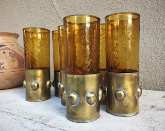 Vintage Set of Six Hand Blown Caged Glasses Narrow Tumblers Mexican Glassware by Felipe Derflingher