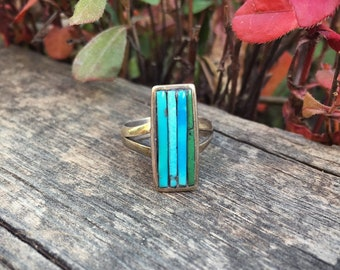 Vintage Cornrow Inlay Turquoise Ring for Women Size 6.5 Native American Ring Indian Jewelry, Dainty Ring, Gift for Girlfriend or Daughter