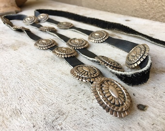 Small Narrow Vintage Sterling Silver Concho Belt for Women Native American Indian Jewelry, Skinny Belt