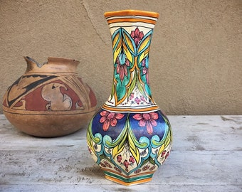 Vintage Italian Pottery Vase Ceramics Ericina, Hand Painted Majolica Pottery, Rustic Home Decor