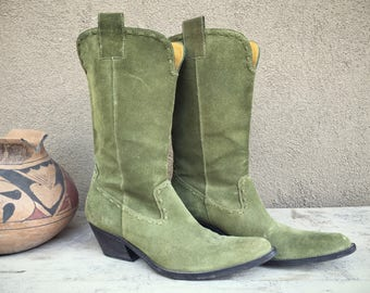 Vintage Green Cowboy Boots for Women Size 6.5 (Run Small) Made in Brazil, Green Suede Leather Cowgirl Boots, Green Wedding Boot Boho Chic
