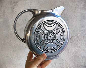1990s Wilton Armetale Flat Sided Pewter Pitcher with Kenya Pattern Southwestern Tribal Decor