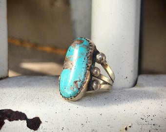 Simple Turquoise Ring for Women Size 5 Native American Indian Ring Turquoise Sterling Silver
