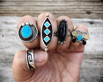 Dainty Vintage Turquoise Ring for Women, Native American Indian Jewelry, Southwestern Jewelry, Boho Ring