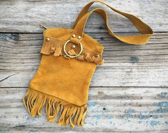 1960s Small Suede Leather Saddle Pouch Fringe Bag with Long Wristlet Strap, Southwestern Boho Style