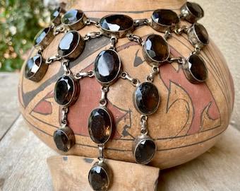 Vintage Sterling Silver Smoky Quartz Big Bib Necklace, Gemstone Gift for November Birthstone