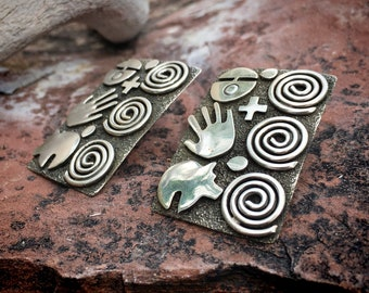 Large Rectangle Sterling Silver Hand Petroglyph Earrings, Signed Navajo Native American Indian Jewelry