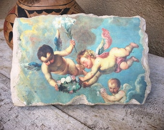 Plaster Wall Hanging with Cherubs, Angel Gifts, Religious Art, Brocante Renaissance Style