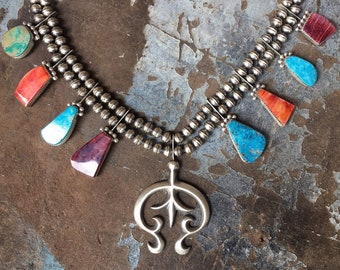 118gm Spiny Oyster and Turquoise Squash Blossom Necklace for Women, Native American Indian Jewelry