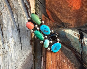 Extra Long Multi Stone Turquoise Ring Women's Size 9.5, Native American Indian Ring