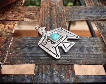 Fred Harvey Era Silver Thunderbird Pendant, Thunderbird Icon Native American Style, Bird Gifts