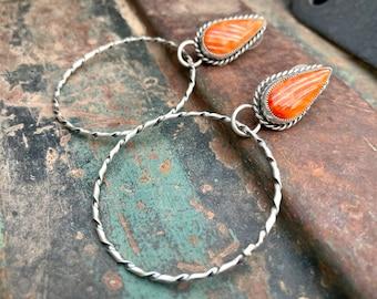 Orange Spiny Oyster Sterling Silver Hoop Earrings by Navajo Jean Dixon, Native American Jewelry