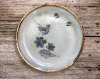 Vintage Signed Ken Edwards Salad Plate with Bird Butterflies, Tonala Mexico Pottery, Southwestern Kitchen Decor