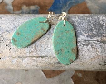 Light Green Turquoise Slab Earrings Medium-Small Size, Southwestern Santo Domingo Pueblo Jewelry