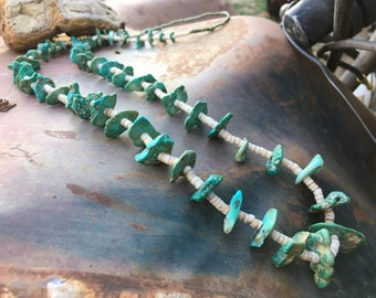 1930s Turquoise Nugget Necklace with Squaw Wrap Santo Domingo Native American Jewelry, Anniversary Gift
