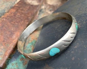Vintage Mexican Sterling Silver Natural Turquoise Inlay Bangle Bracelet for Women, Taxco Jewelry
