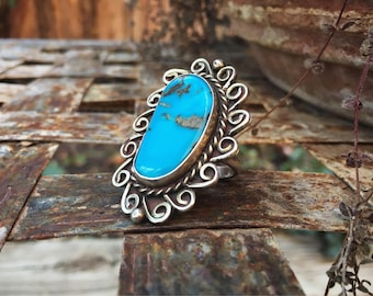 Silver and Bisbee Turquoise Ring Native American Indian Jewelry, Turquoise Jewelry, Navajo Ring