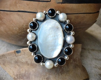 Huge Mother of Pearl Black Onyx Sterling Silver Ring Size 8, Navajo Native American Indian Jewelry
