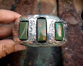 57g Vintage Navajo Pauline Benally Sterling Silver Shadowbox Cuff Bracelet with Green Turquoise