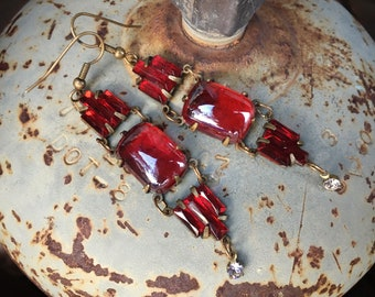 """2-3/4"""" Long Red Glass and Brass Art Deco Style Dangle Earrings, Vintage Costume Jewelry"""