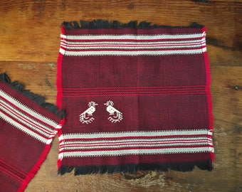 Set of Five Vintage Red Woven Napkins from Mexico Rustic Home Decor Cloth Napkins