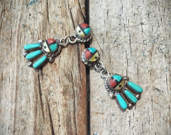 Signed Zuni Sun Face Earrings for Women Vintage Turquoise Coral Yellow Mother of Pearl