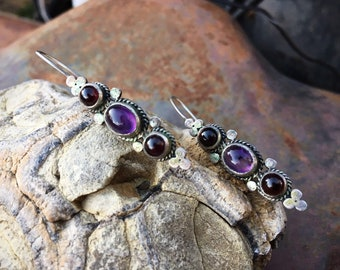 Vintage Silver Amethyst and Garnet Earrings for Women, Birthstone Jewelry Gift for Girlfriend