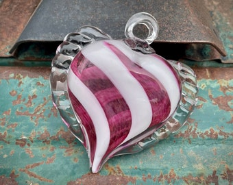 Vintage Hand Blown Glass Ornament Heart Shaped White Pink, Handcrafted Bulb, Christmas Decor