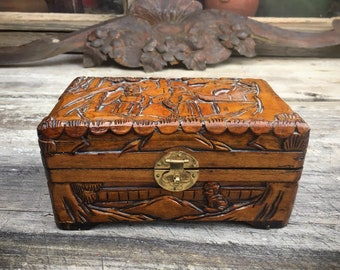 Vintage Asian Wooden Jewelry Box Hand Carved Red Satin Lined Medium Small Size