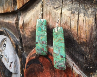Large Slab Green Turquoise Earrings for Women Native American Jewelry Santo Domingo Pueblo