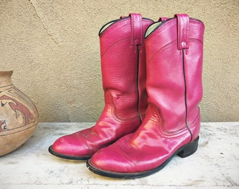 Vintage Pink Cowboy Boots Women's Size 7 to 7.5 Magenta Cowgirl Boots, Boho Hippie Festival Fashion