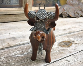Torito de Pucara Bull Statue from Peru Mahogany Wood and Sterling Silver, Good Luck Ornament