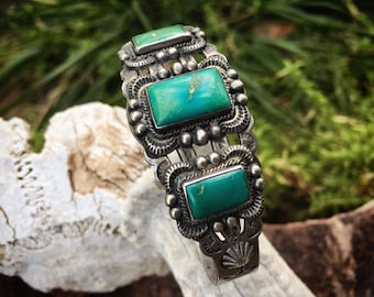 Early Turquoise Cuff Bracelet Circa 1930s Fred Harvey Era, Vintage Natural Turquoise Jewelry