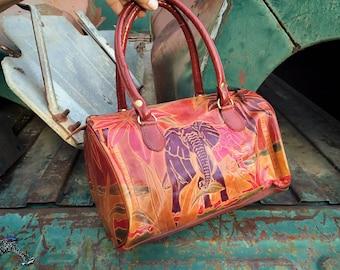 Small Leather Purse w/ Elephant Design Embossed Dyed Painted, Shantiniketan Bag, Safari Animal