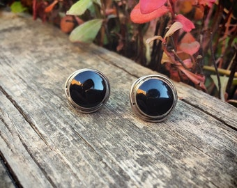 Vintage Small Black Onyx Sterling Silver Post Earrings for Women with Short Hair, Native American