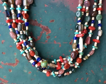 Five Strand Multi Stone Turquoise Bead Necklace, Southwestern Jewelry Native America Indian Style