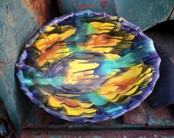 Oaxaca Mexico Dripware Pottery Large Bowl, Midcentury Mexican Pottery Folk Art, Southwestern Decor