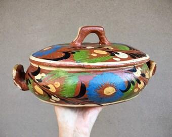 Old Mexican Pottery Lidded Casserole Dish (Repaired) Southwestern Decor, Tlaquepaque Mexico Redware Ceramics, Talavera Kitchen Rustic Decor