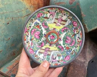 Small Vintage Japanese Porcelain Ware Famille Rose Plate Bowl Pewter Encased, Chinoiserie Decor