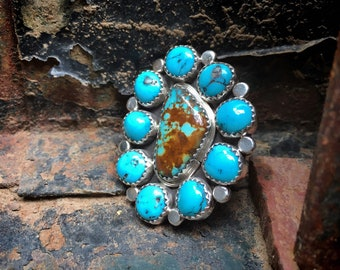 Size 9 Cluster Ring Blue Matrixed Turquoise by Navajo Eunice Begay, Native American Jewelry