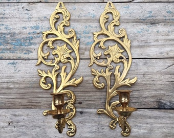 Pair of Vintage Brass Candle Holder Wall Sconces, Old World Home Decor, Wall Mounted Candlestick Lighting, Hollywood Regency