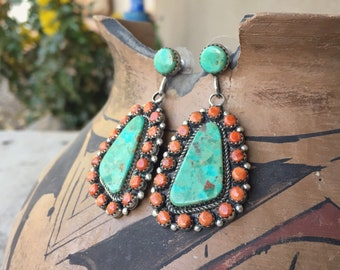 piny Oyster and Turquoise Cluster Earrings, Southwestern Native American Indian Jewelry